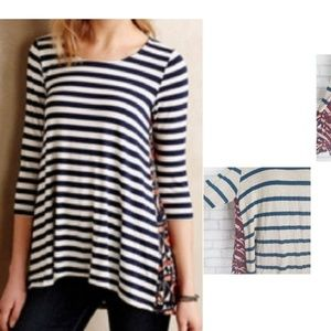 Anthropologie Puella Striped Floral Boho Top